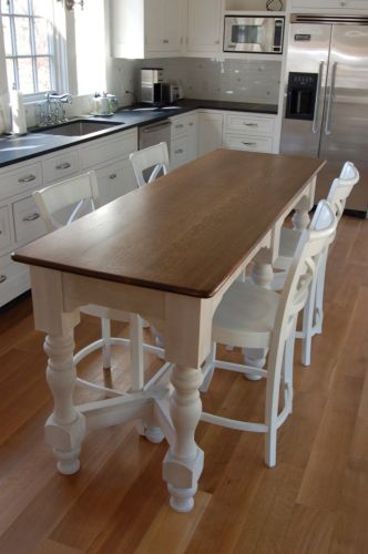 kitchen island table Your small family could gather at dinner time happily around this narrow kitchen island