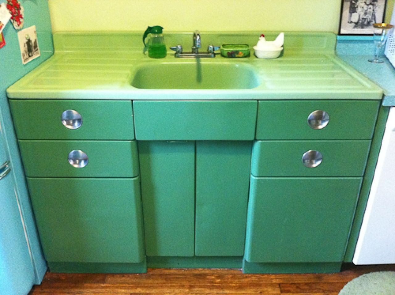 vintage kitchen sink Vintage Metal Kitchen Cabinet Vintage jadeite porcelain drainboard sink and metal sink cabinet