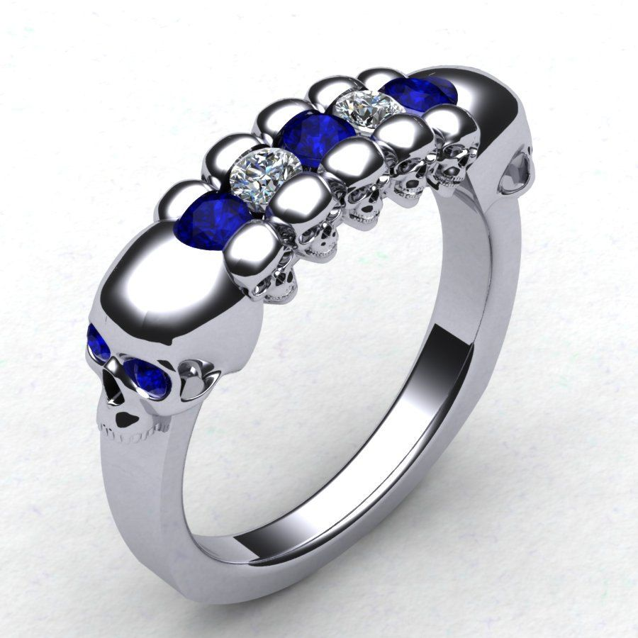 mens skull wedding rings With This Skull Wedding Band Men s Skull Ring Skeleton Ring Mens Diamond Skull Ring Blue Sapphire