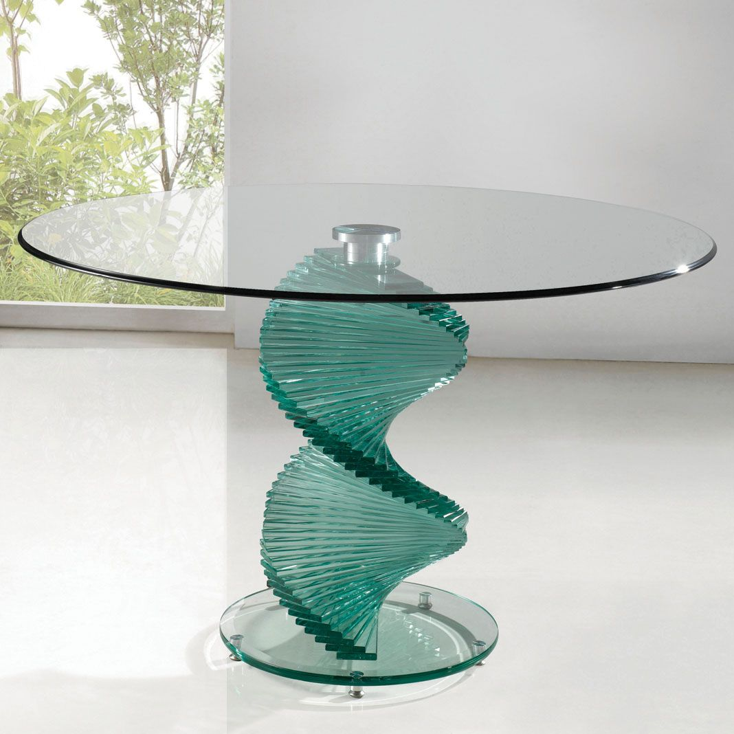 glass kitchen tables Twirl Dining Table Round contemporary design Clear Smoked Glass Top