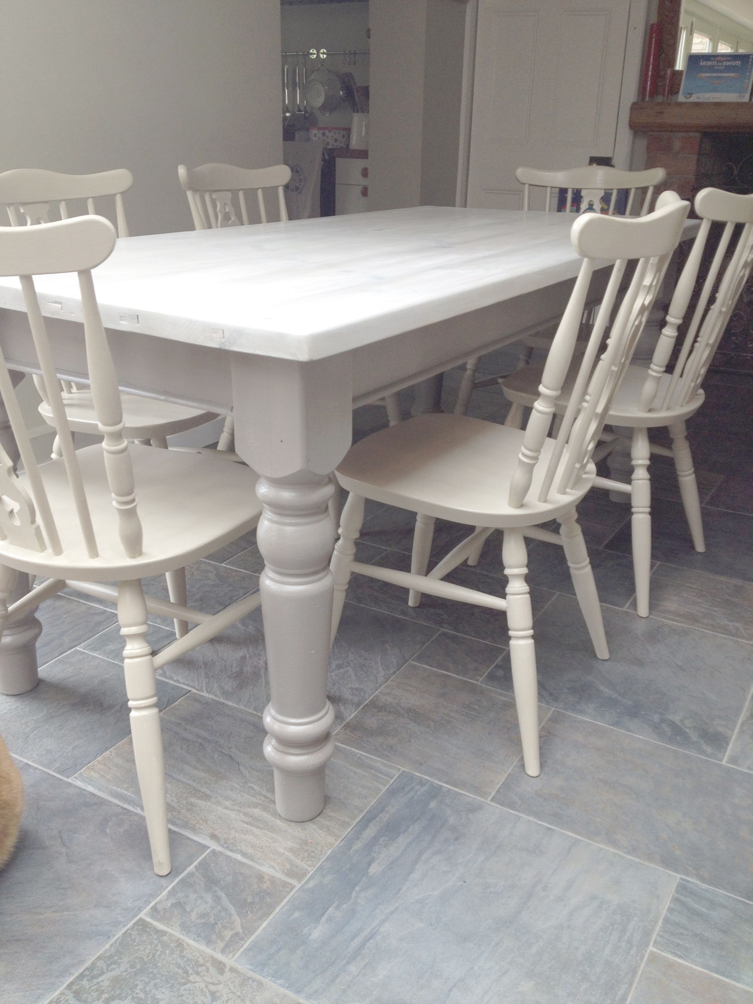gray kitchen table Dining chairs given a 2 colour distress using Annie Sloan Cream over Country Grey Dining