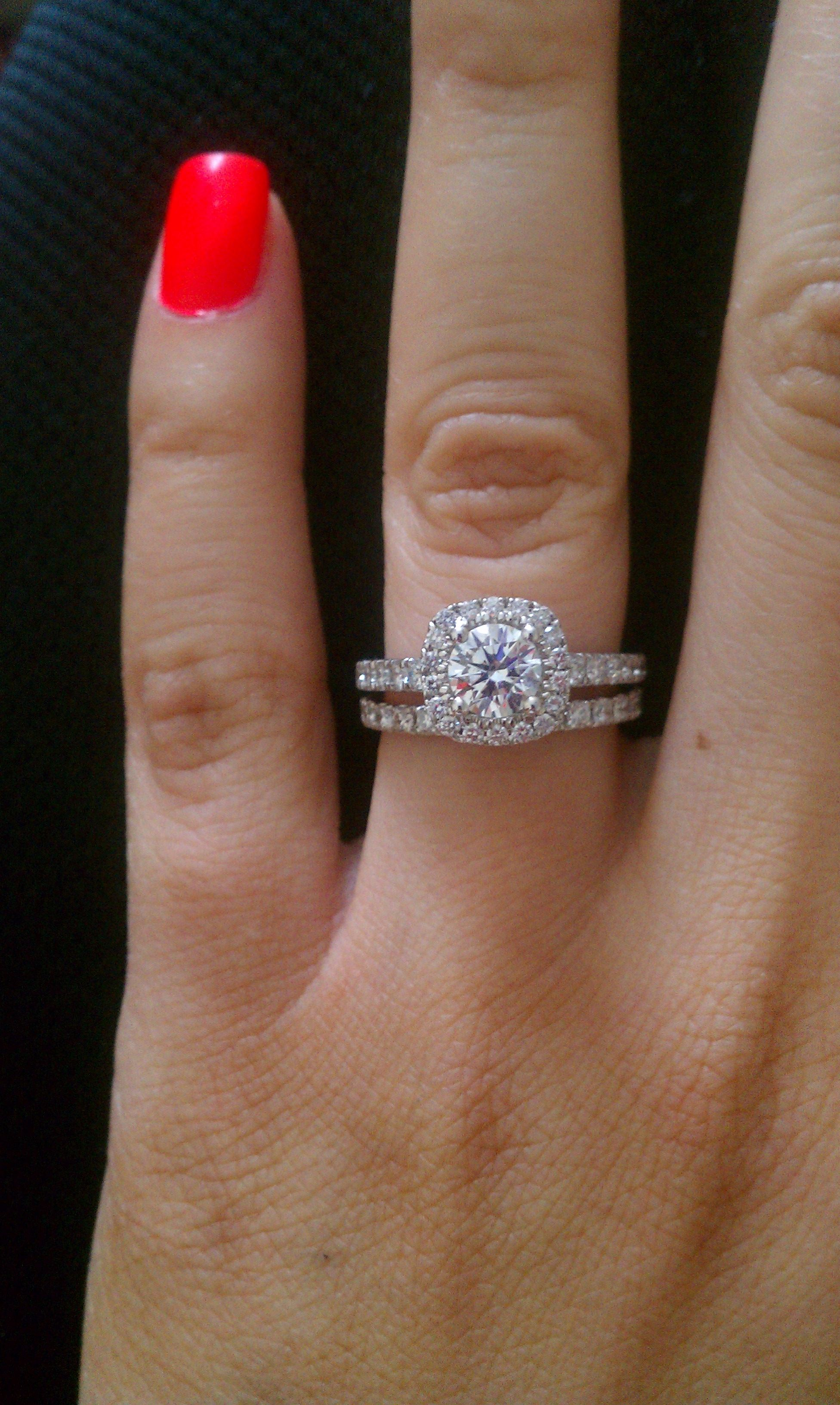 pave diamond wedding band Classic round diamond set in a cushion halo engagement ring with pave diamond wedding band