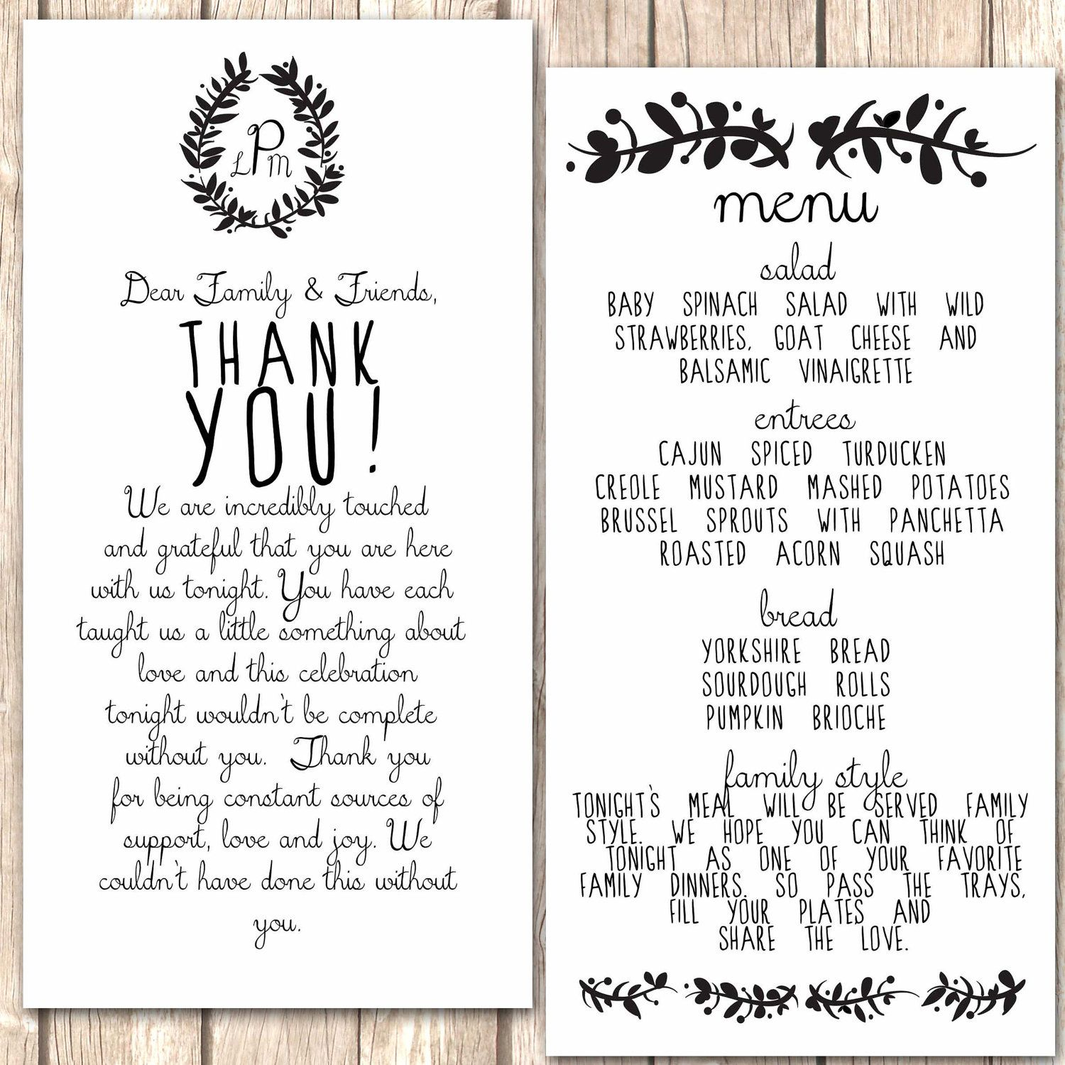 thank you wedding cards Whimsical Menu and Thank You Card for Wedding Dinner