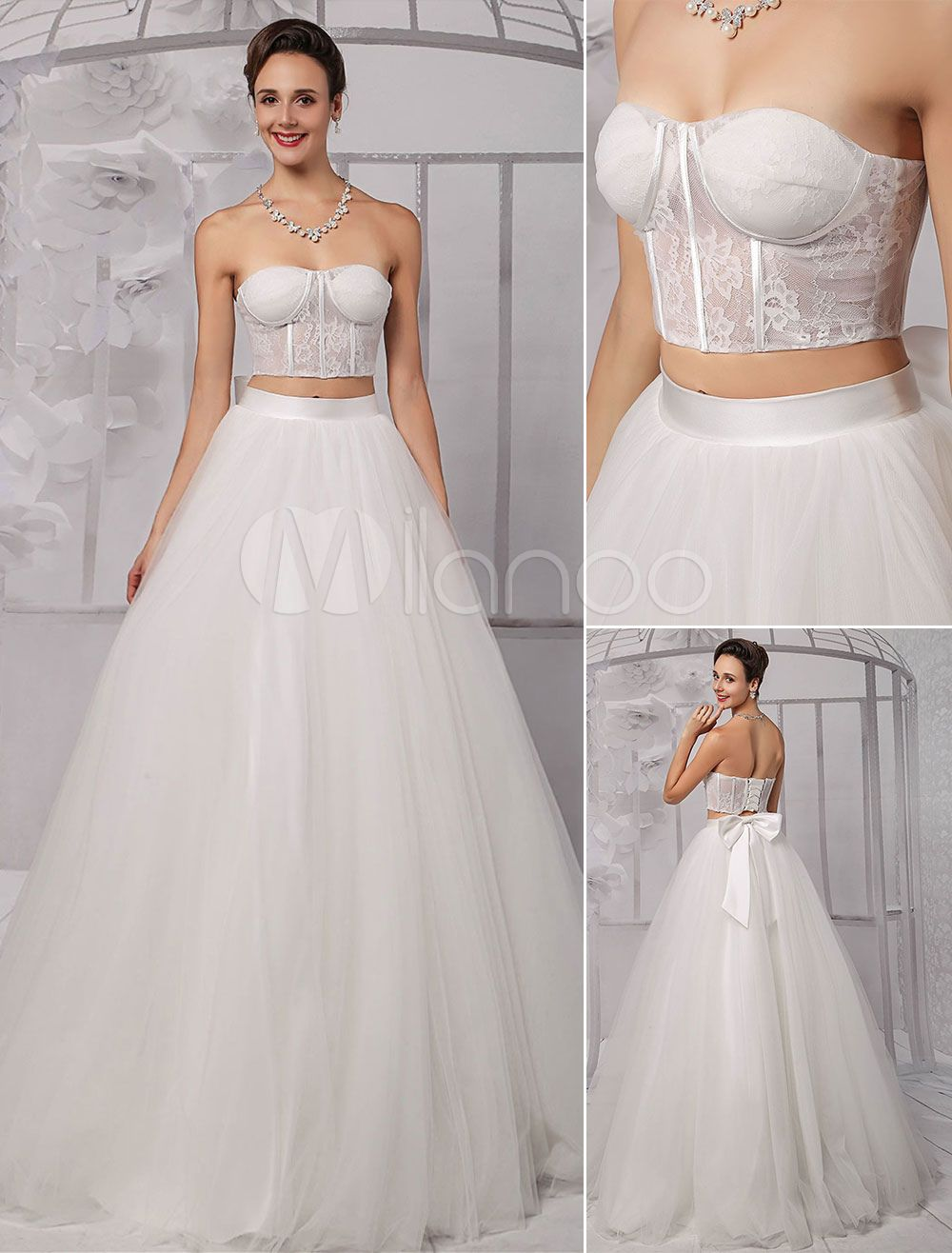 crop top wedding dress Two Pieces Strapless Lace Corset Crop Top Ball Gown Wedding Dress With Tulle Skirt