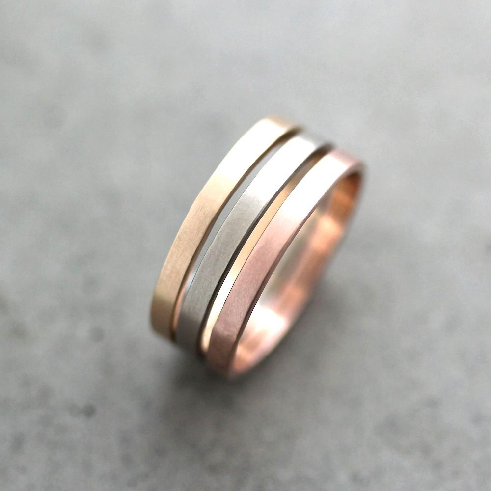 white gold wedding band Gold Wedding Band Stacking Rings Mixed Metal 2mm Recycled 14k Yellow Rose Gold Palladium White Gold Rings Wedding Rings Made to Order