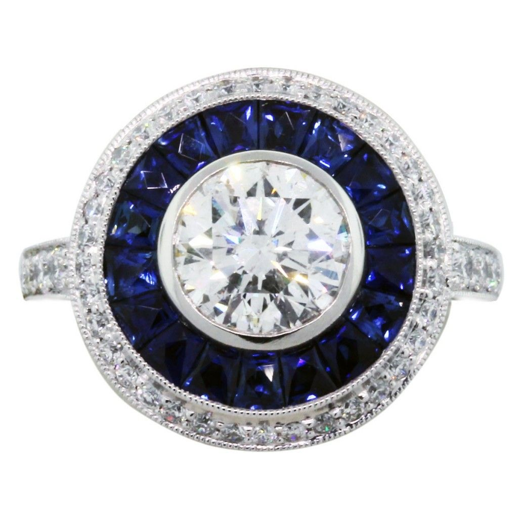 vintage sapphire wedding bands Blue sapphire halo ring