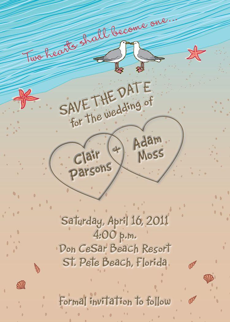 beach wedding invitations Beach Themed Wedding Invitations