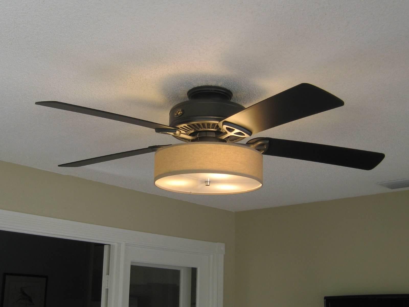 kitchen fan light Low Profile Linen Drum Shade Kit for Ceiling Fan S T Lighting LLC