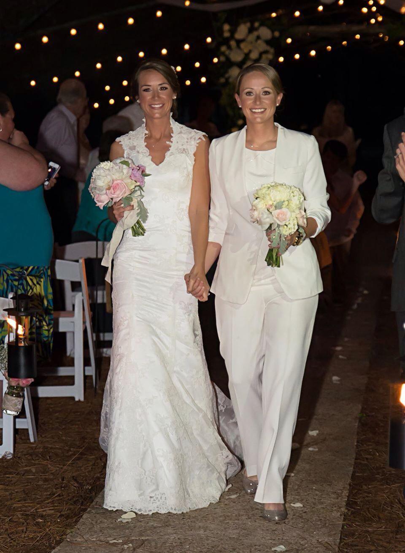 lesbian wedding ideas Lesbian wedding outfits attire gay girls brides pants suit lgbt jacket shoes bouquets night wedding