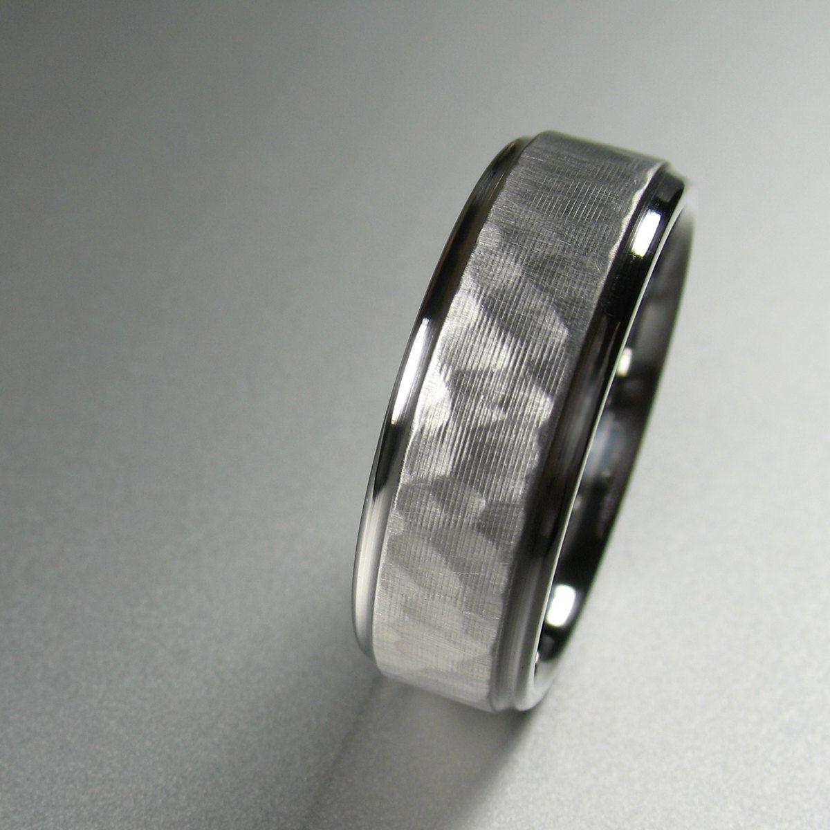 tungsten hammered wedding band Men s Wedding Band Stainless Steel Comfort Fit