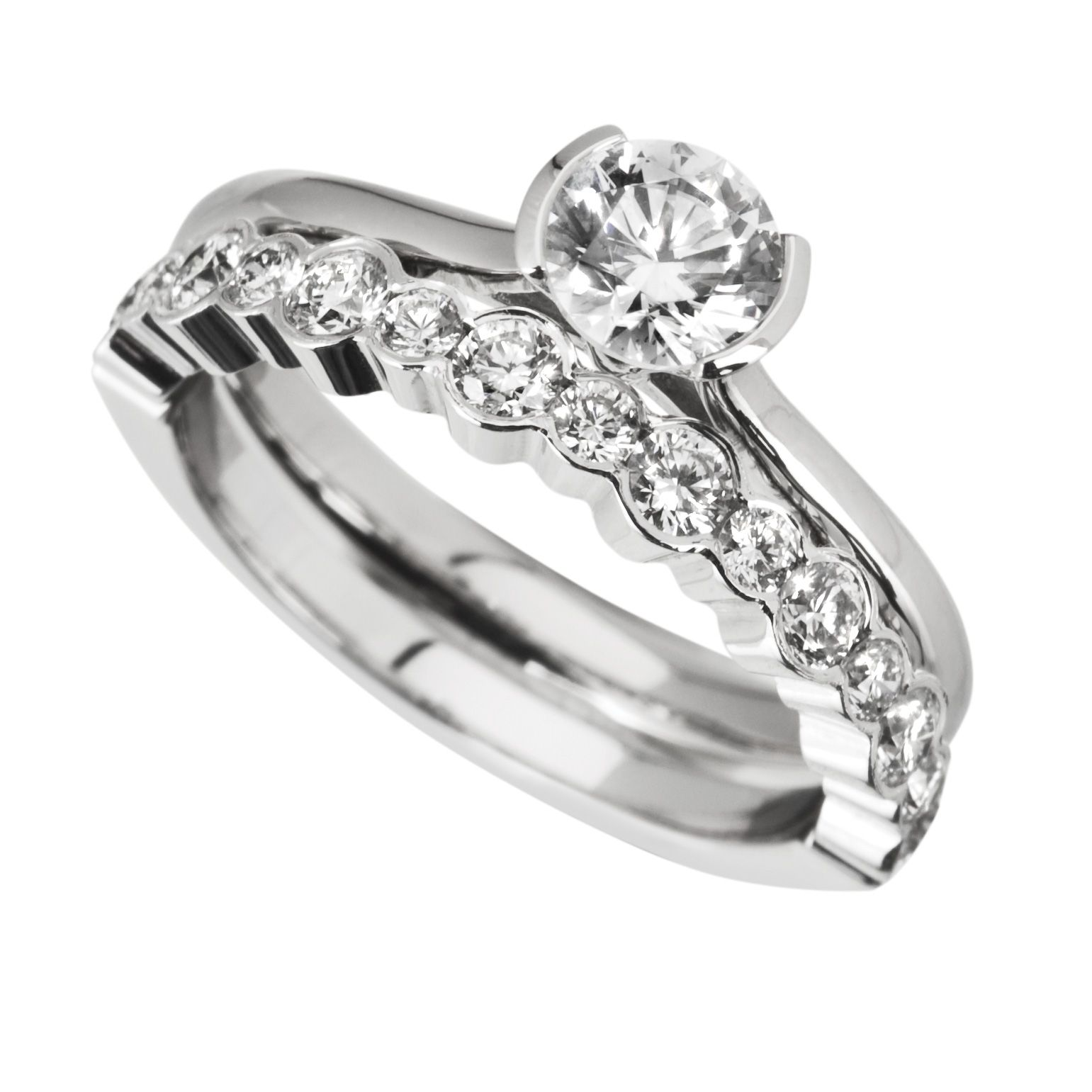 wedding sets images of wedding rings sets Rub Over Engagement Ring with Matching Diamond