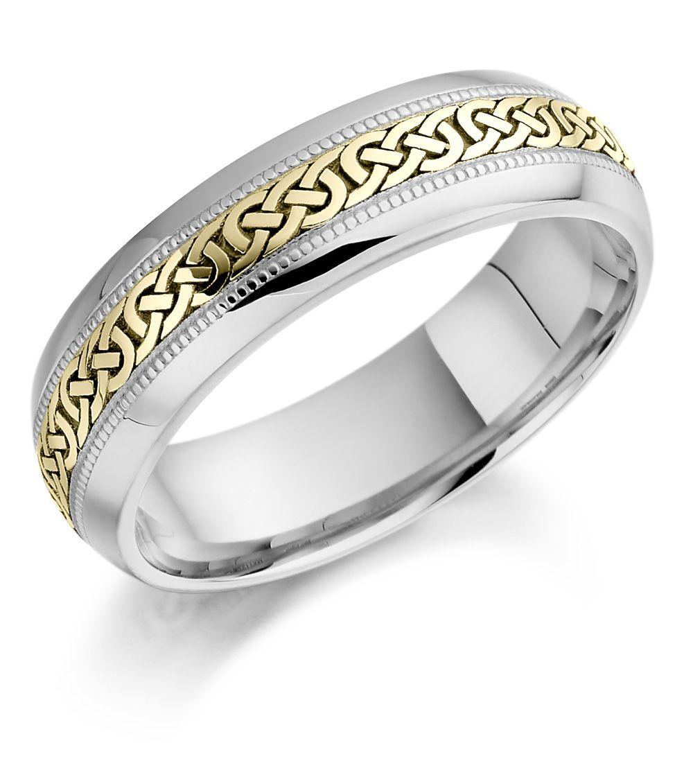 irish wedding rings Celtic Engagement Rings Irish Wedding Ring Ladies White and Yellow Gold Celtic Knot Wedding