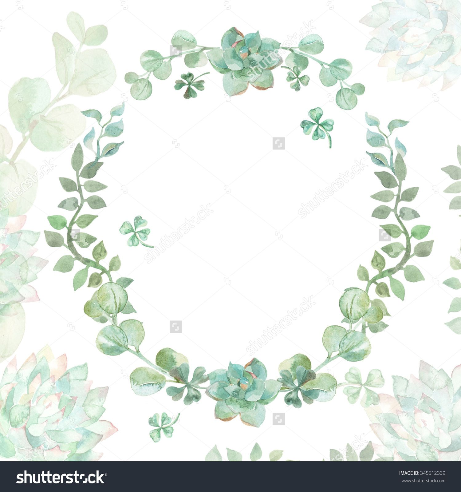 succulent wedding invitations Wedding invitation Wreath Succulents and eucalyptus Greeting card