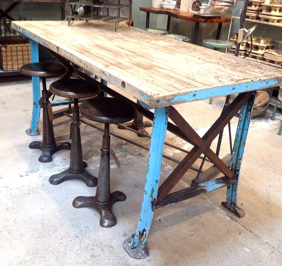 kitchen work table Steel and Reclaimed Wood Furniture vintage worktable blue metal legs reclaimed wood top jennifer price
