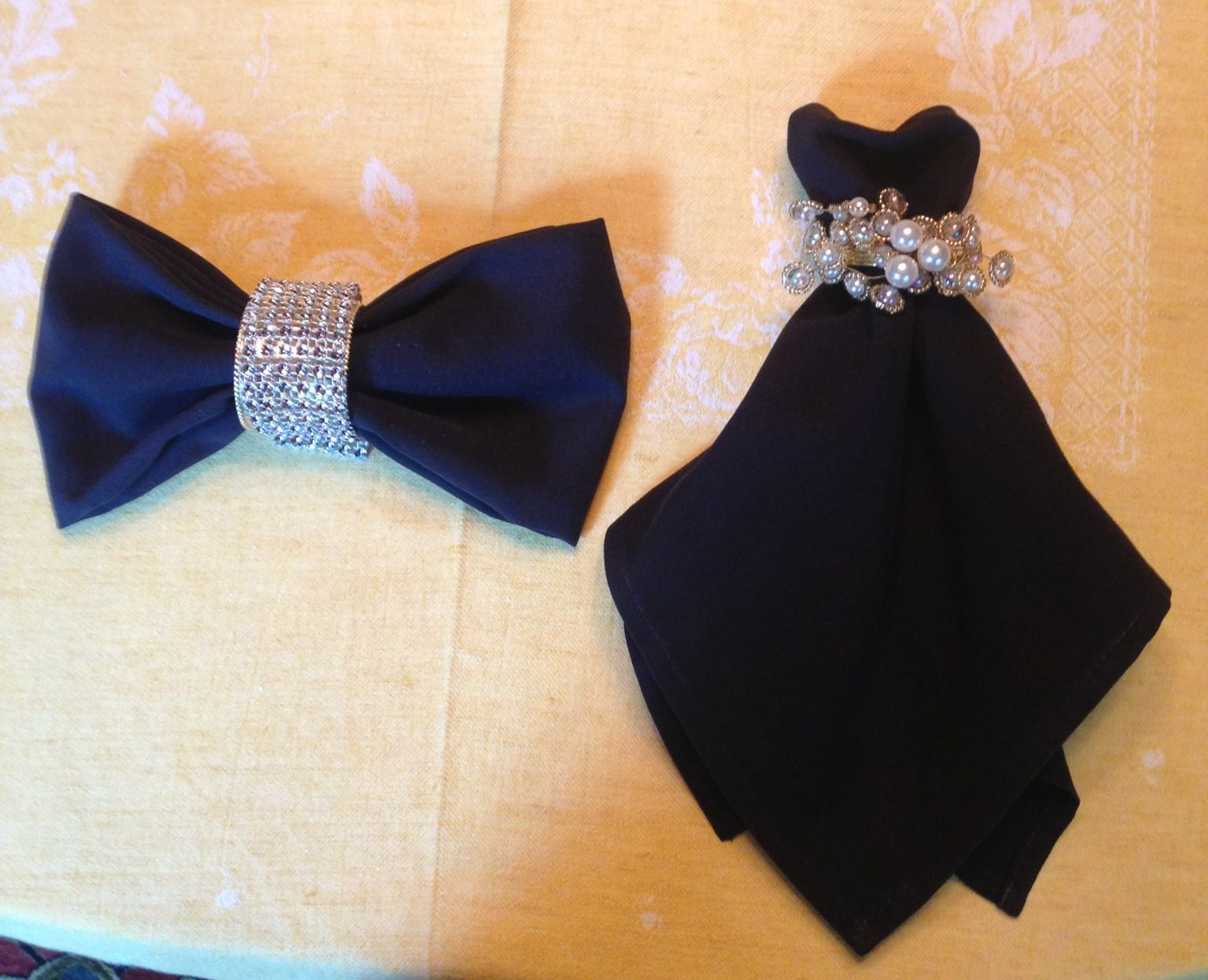 black napkins napkins for wedding Cocktail dress Bowtie napkin folding