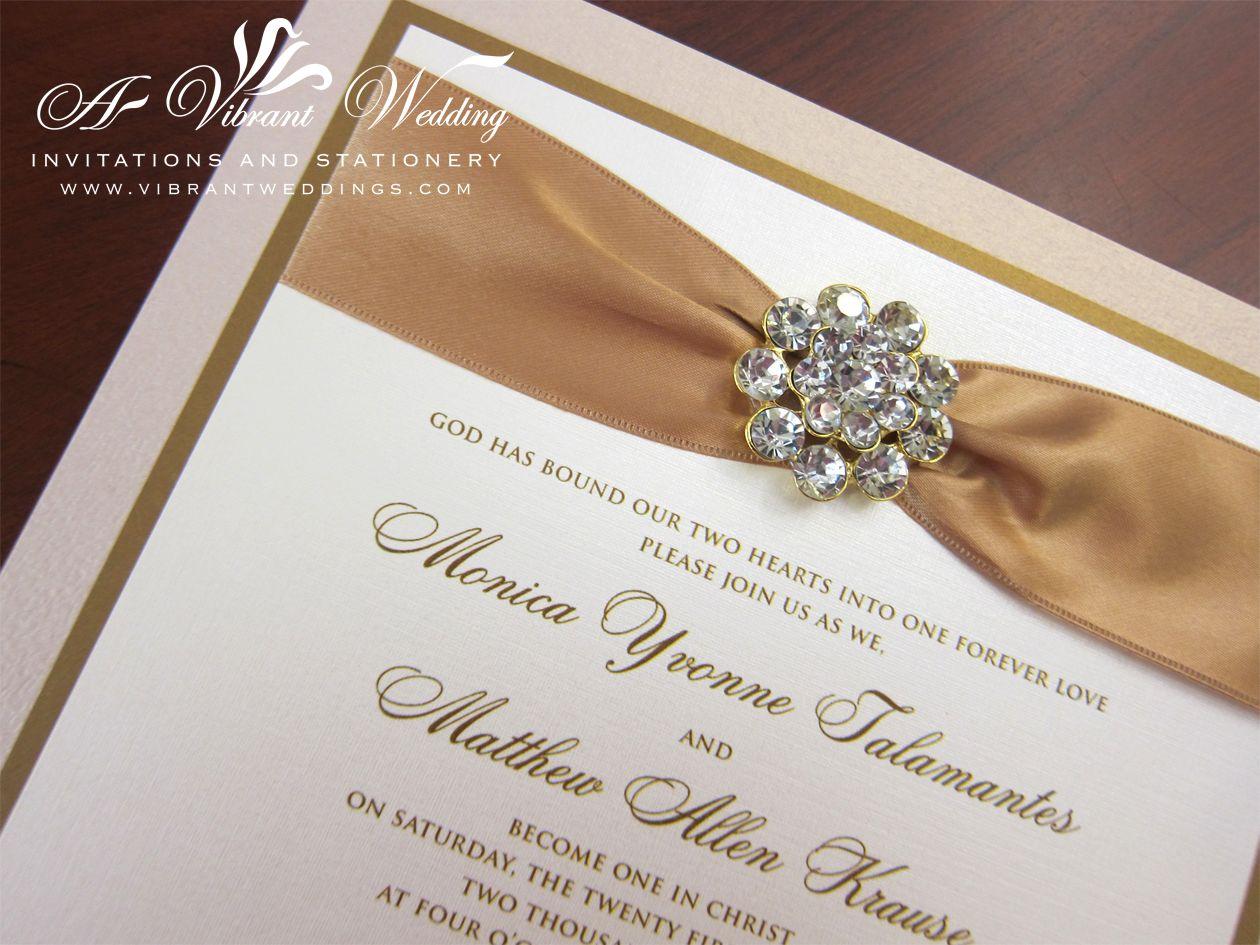 wedding invitations with ribbon Champagne and Gold Box Wedding Invitation with Rhinestone Jewel Ribbon