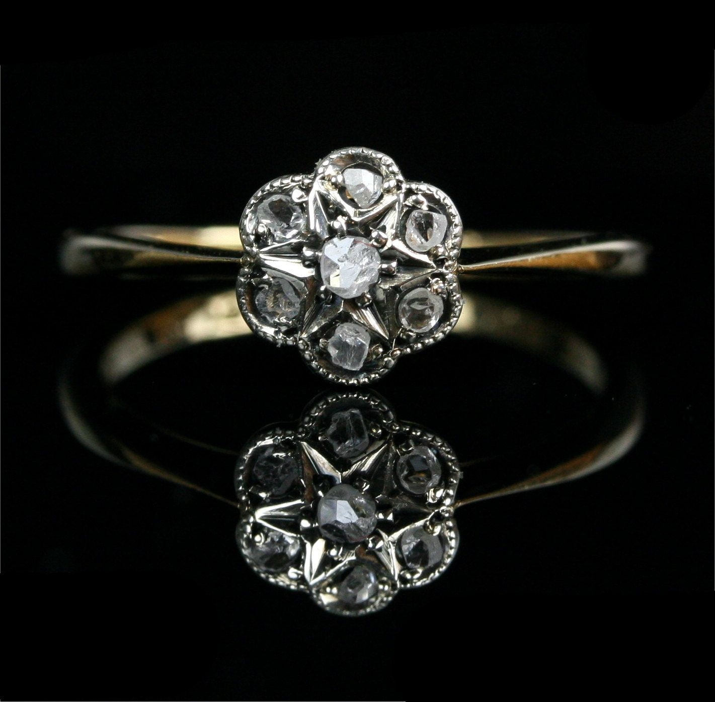 rose wedding ring Early Victorian 18k Gold Rose Cut Diamond Flower Cluster Engagement Ring