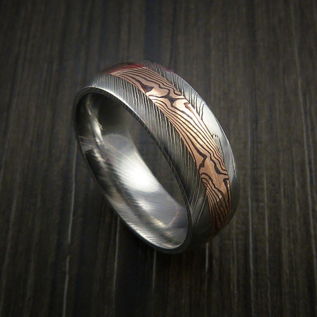 mokume gane wedding bands Damascus and 14k ROSE GOLD Mokume Gane Ring Custom Made
