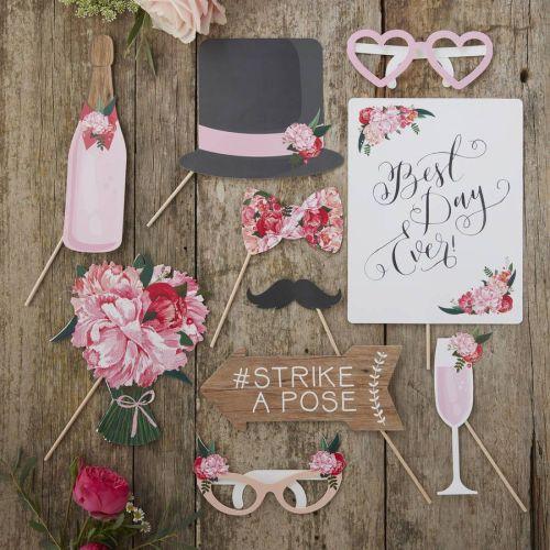 wedding photo booth props Boho Floral Design Wedding Photo Booth Props Kit
