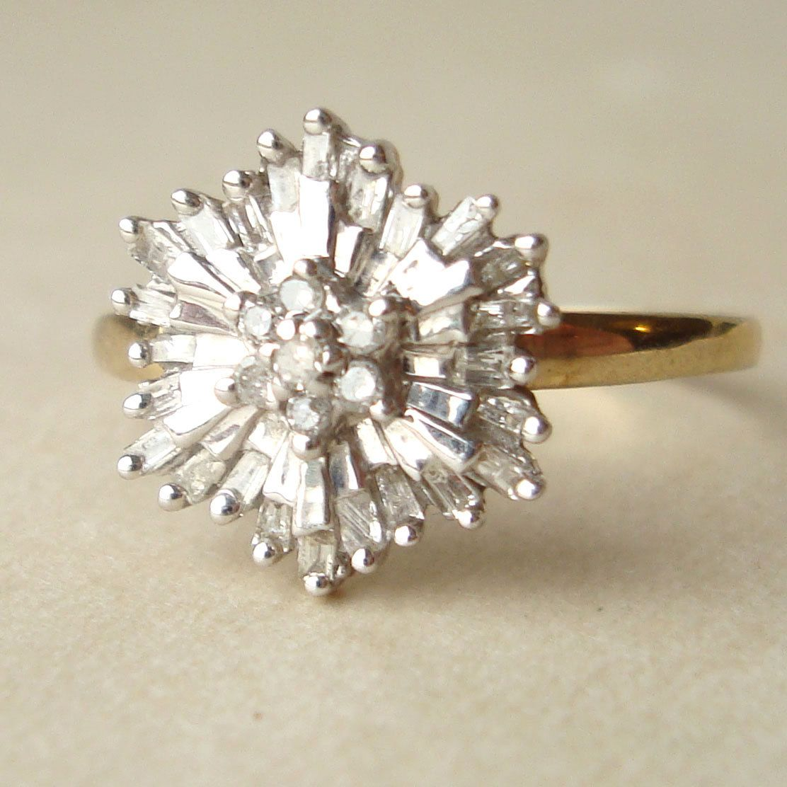 vintage wedding rings s Baguette Diamond Starburst Ring Vintage Diamond Flower Ring 9k Gold Size US 7 75