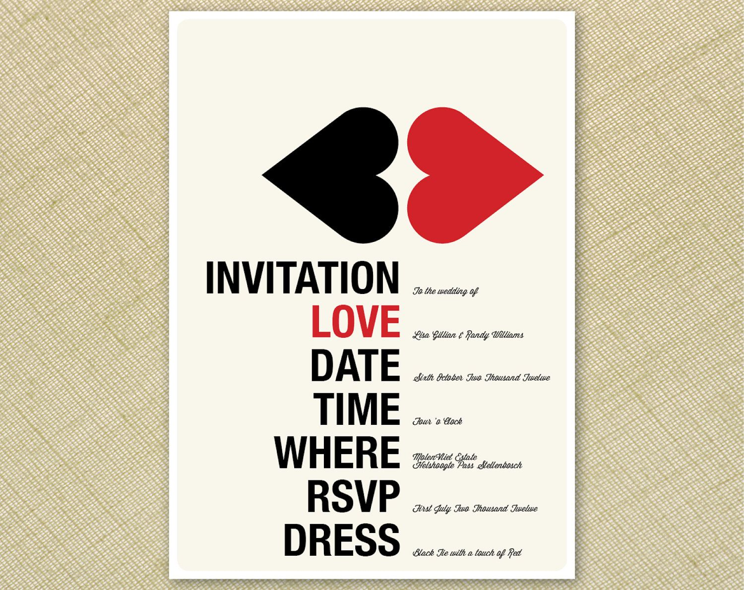 cool wedding invitations Wedding Invitation Retro Kissing Hearts Red Cream Black Funky Printable Designs 15 00 via