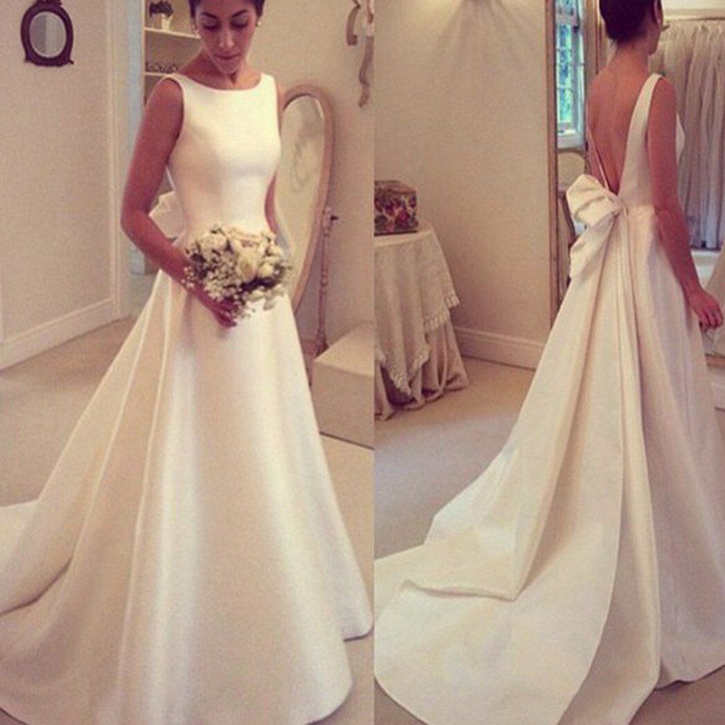 fancy wedding dresses Elegant A line Simple Open Back Bowknot Sweep Train Wedding Dresses WD