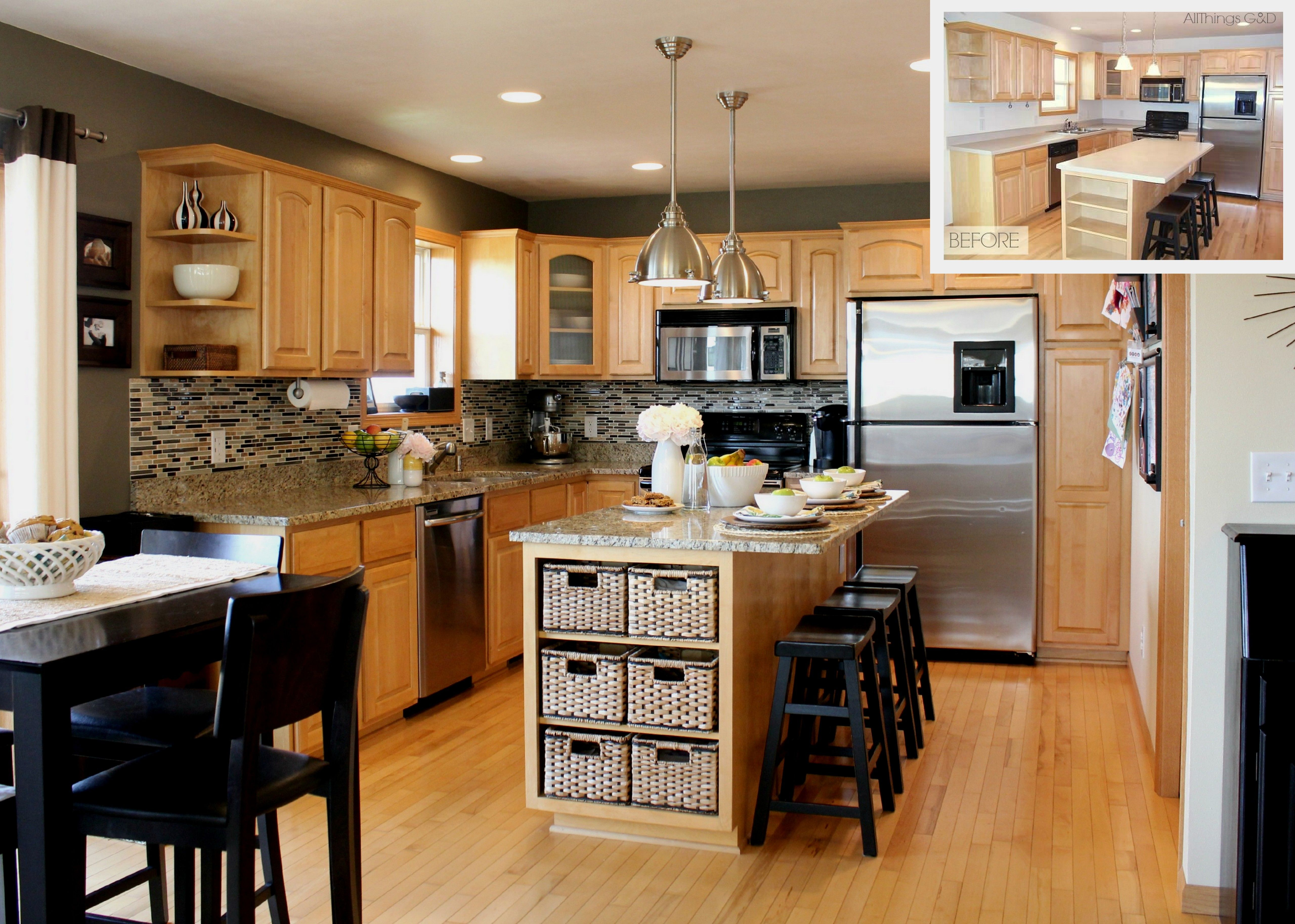 kitchen light wood kitchen cabinets Kitchen light brown wooden kitchen cabinet with glass door also brown marble counter top combined with brown wooden kitchen island and black wooden stools