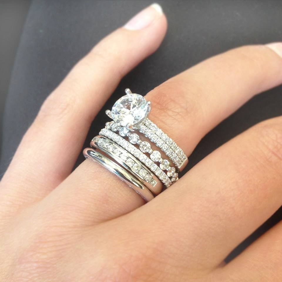 stackable wedding bands We all know diamonds are a girls best friend so why not stack Stacked Wedding BandsStackable Wedding BandsStackable