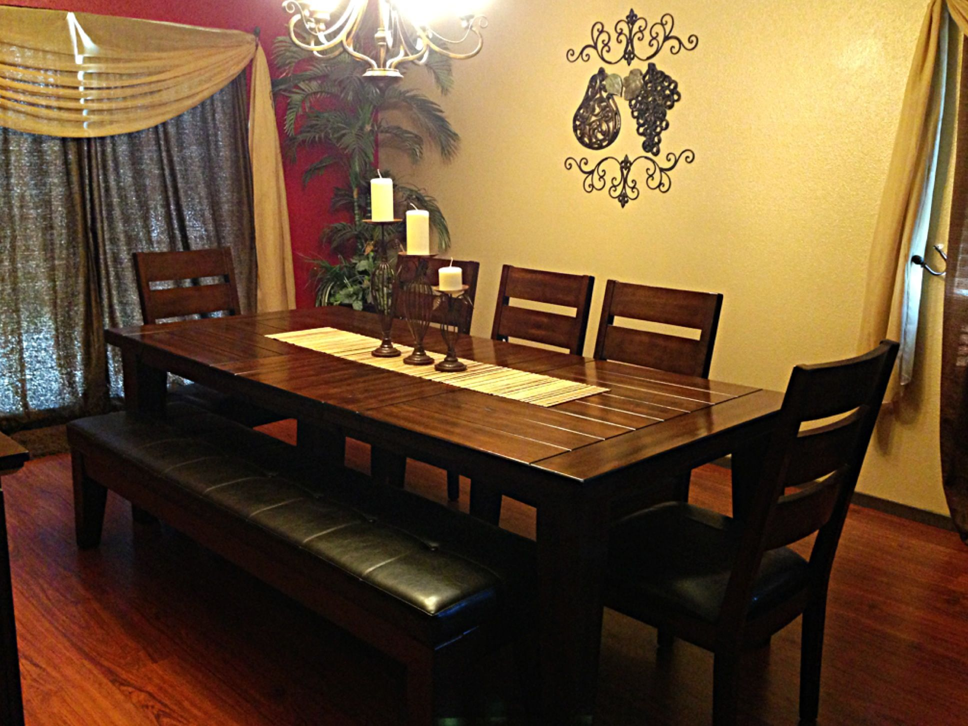 dining room ashley furniture kitchen tables Ashley furniture dining table with Bench candle holders in the middle and iron decor with brown
