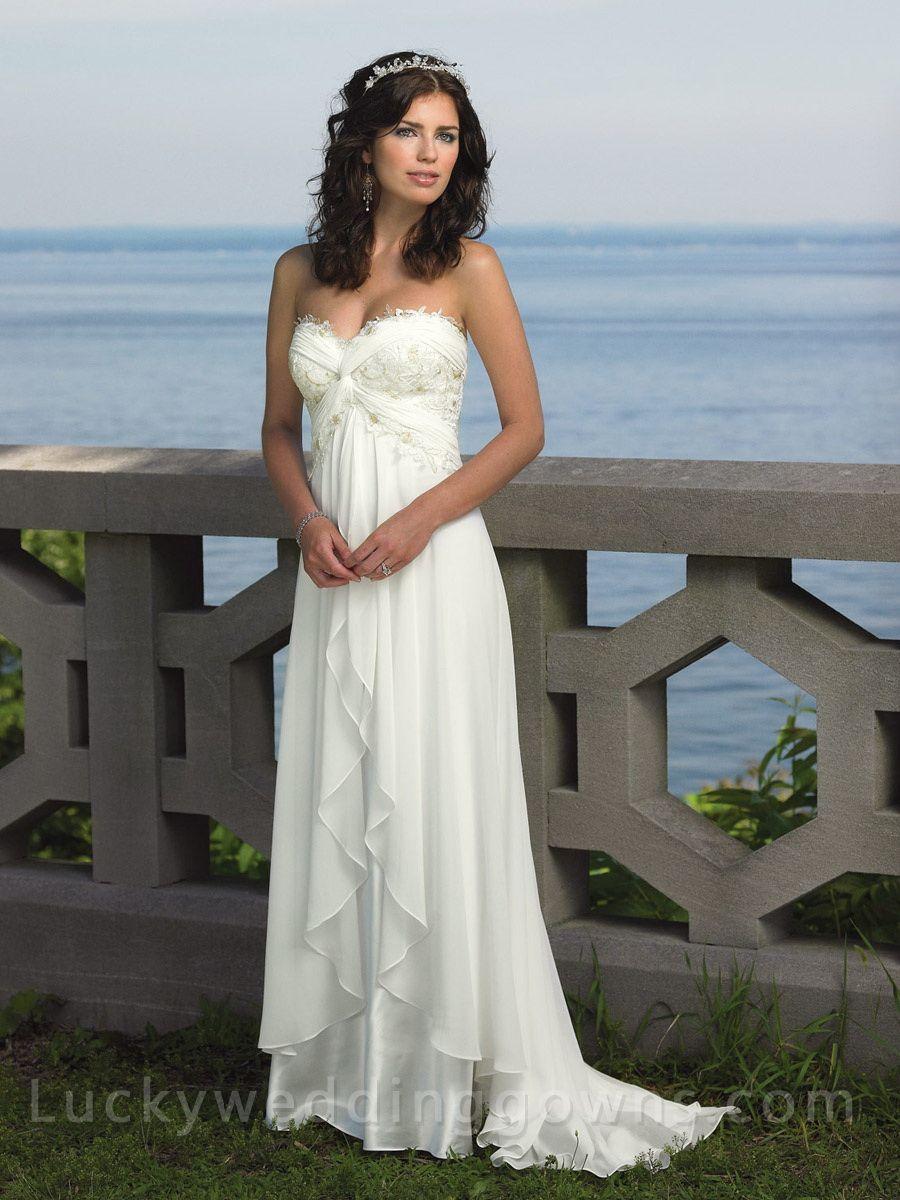 destination wedding dresses Strapless Empire Waist SweetHeart Destination Beach Wedding Dress with Lace