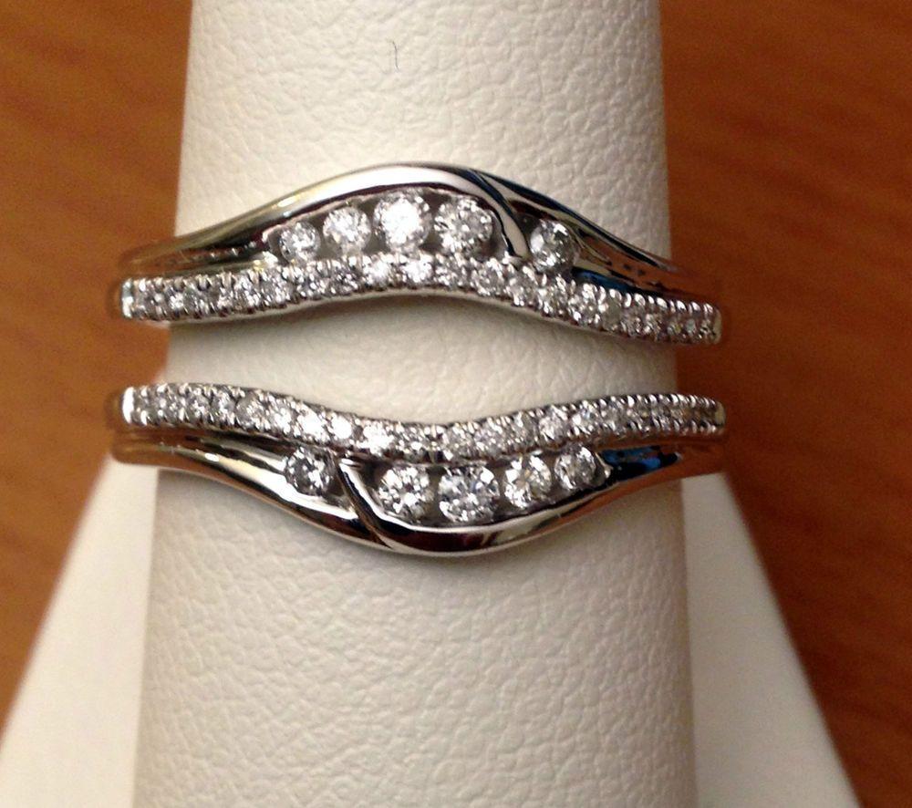 wedding wrap ring Solitaire Enhancer Round Diamonds Ring Guard Wrap 14k White Gold Wedding Band