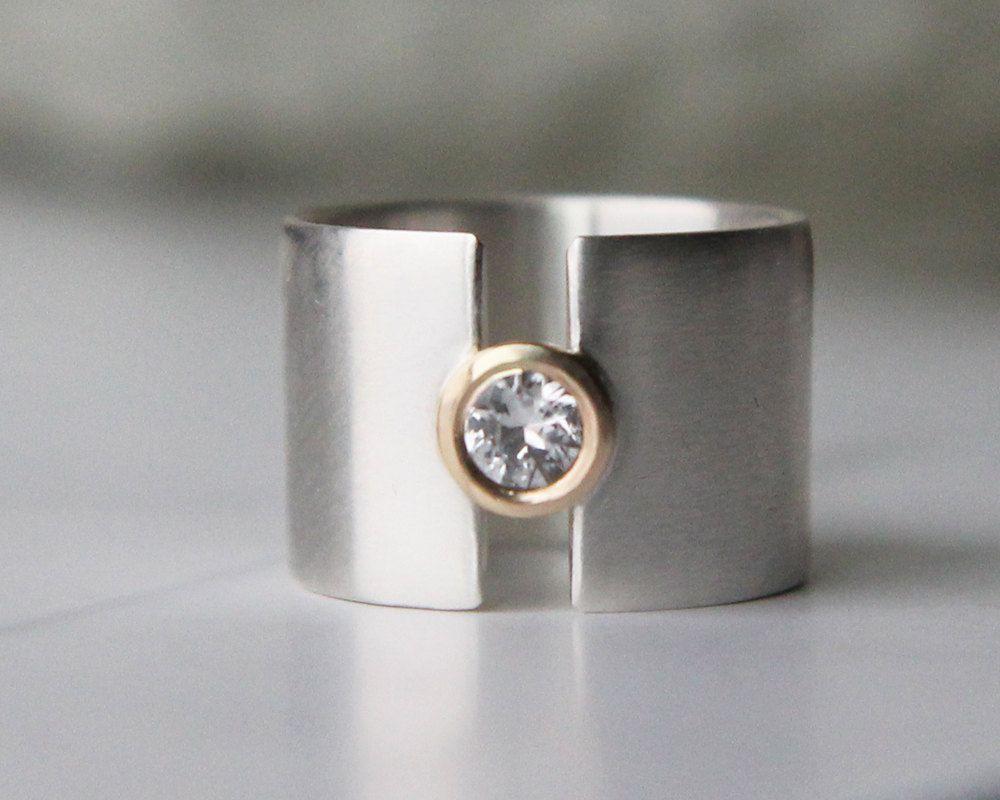 wedding ring band Engagement ring white sapphire wide wedding band silver and gold wedding ring statement ring women s wedding band lunar eclipse
