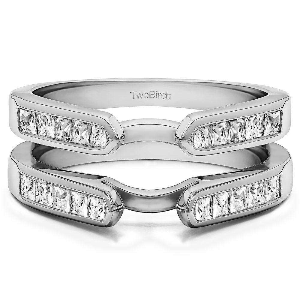 wedding ring guard Channel Set Princess Cut Ring Guard Enhancer set in Solid 10 Karat