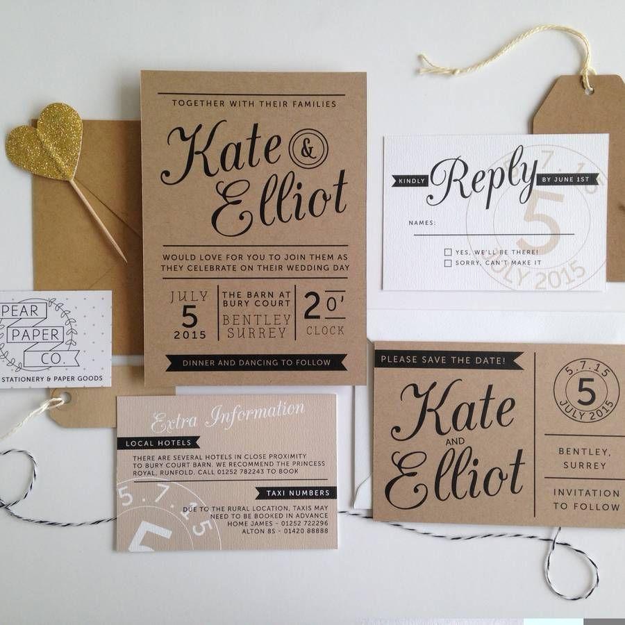wedding invitation stamps Kraft Stamp Wedding Invitation