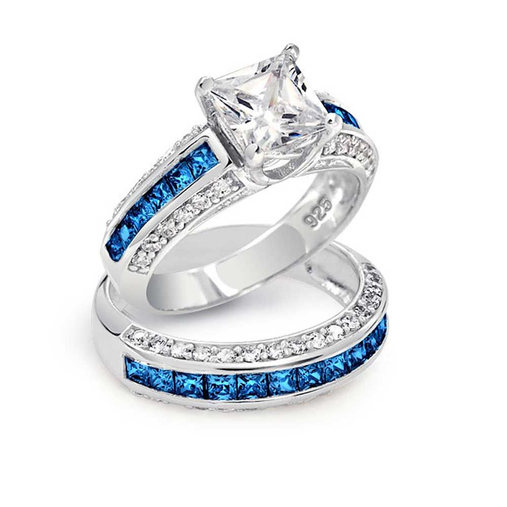 womens diamond wedding rings Blue Diamond Wedding Ring Sets Blue Diamond Engagement Rings Princess Cut Jewelry Gallery