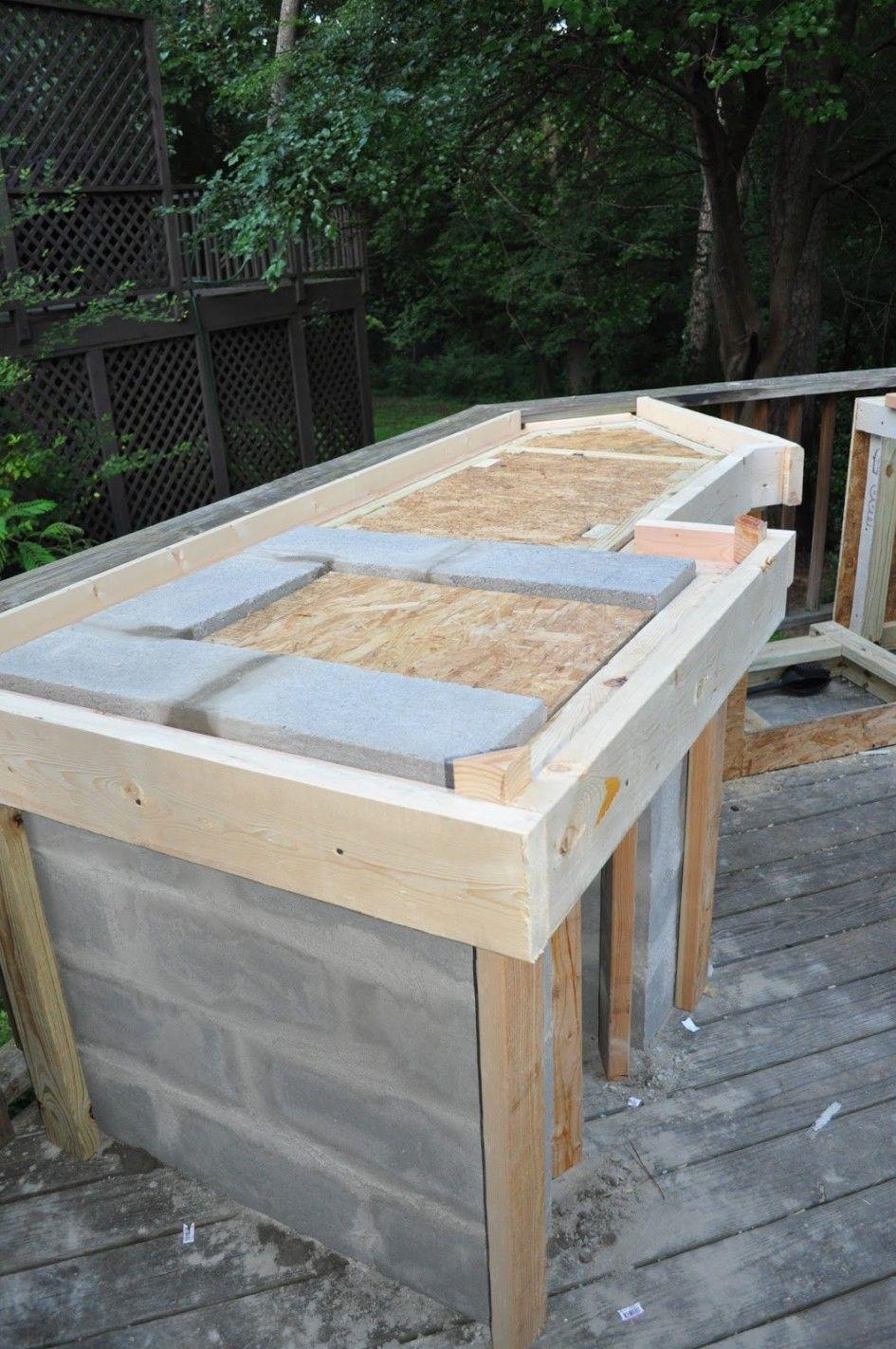 outdoor kitchen countertops Wonderful Outdoor Kitchen Cinder Block Frame With Granite Tile For Outdoor Kitchen Countertop And Combine With