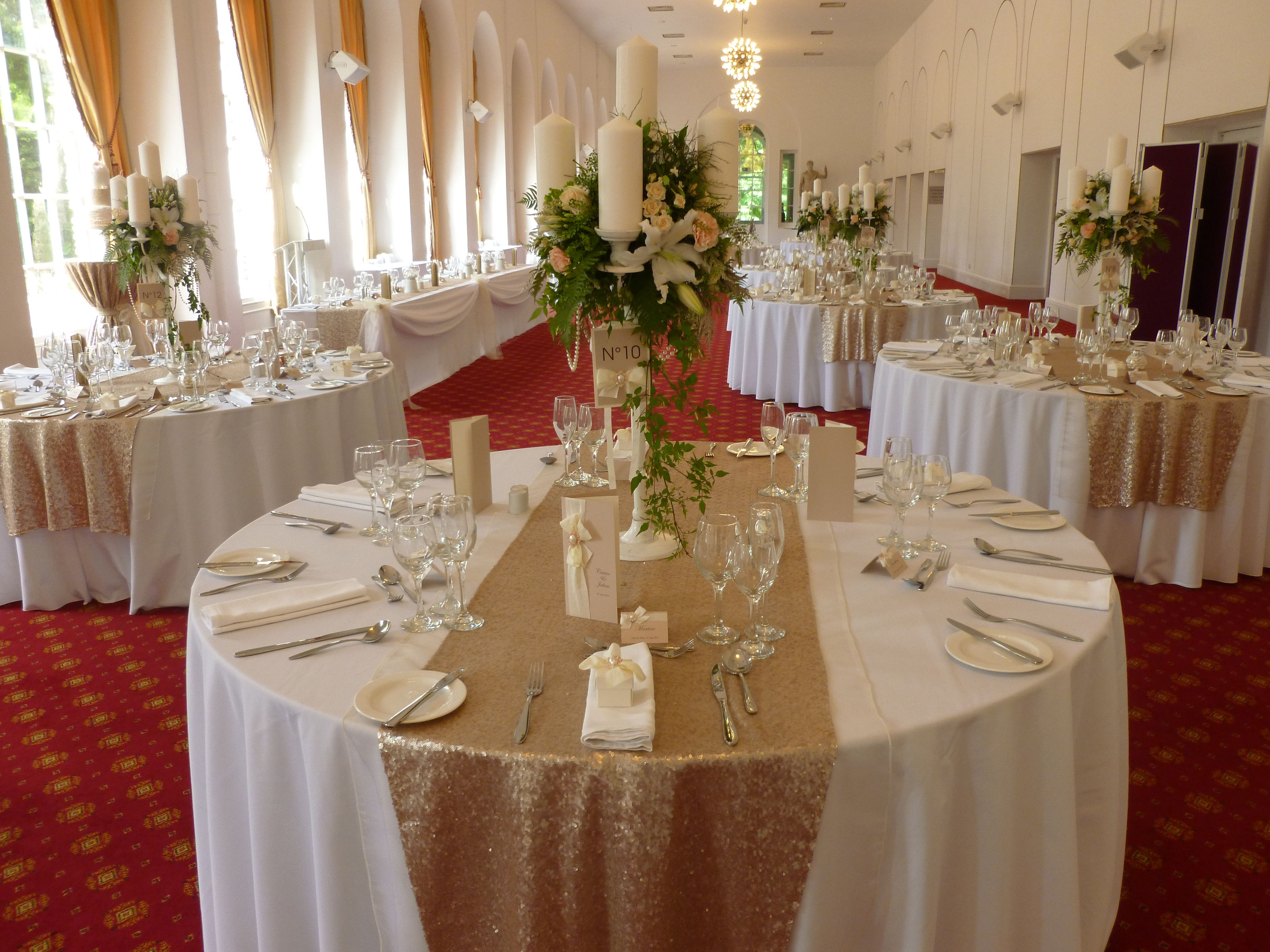 wedding table linens wales wedding linens Champagne sequin table runners by Simply Bows and Chair Covers South Wales