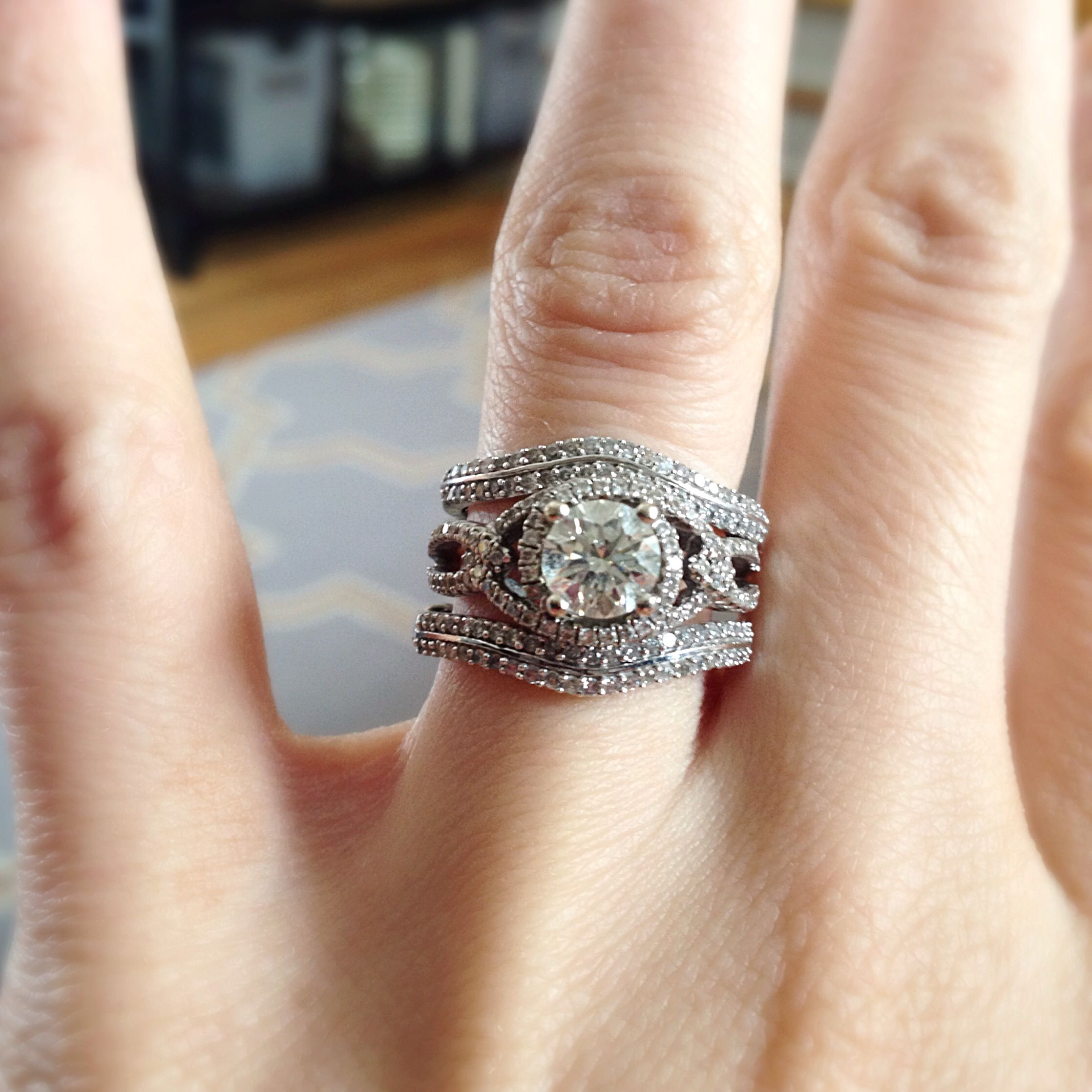 wedding ring with band Double wedding bands vintage inspired wedding ring