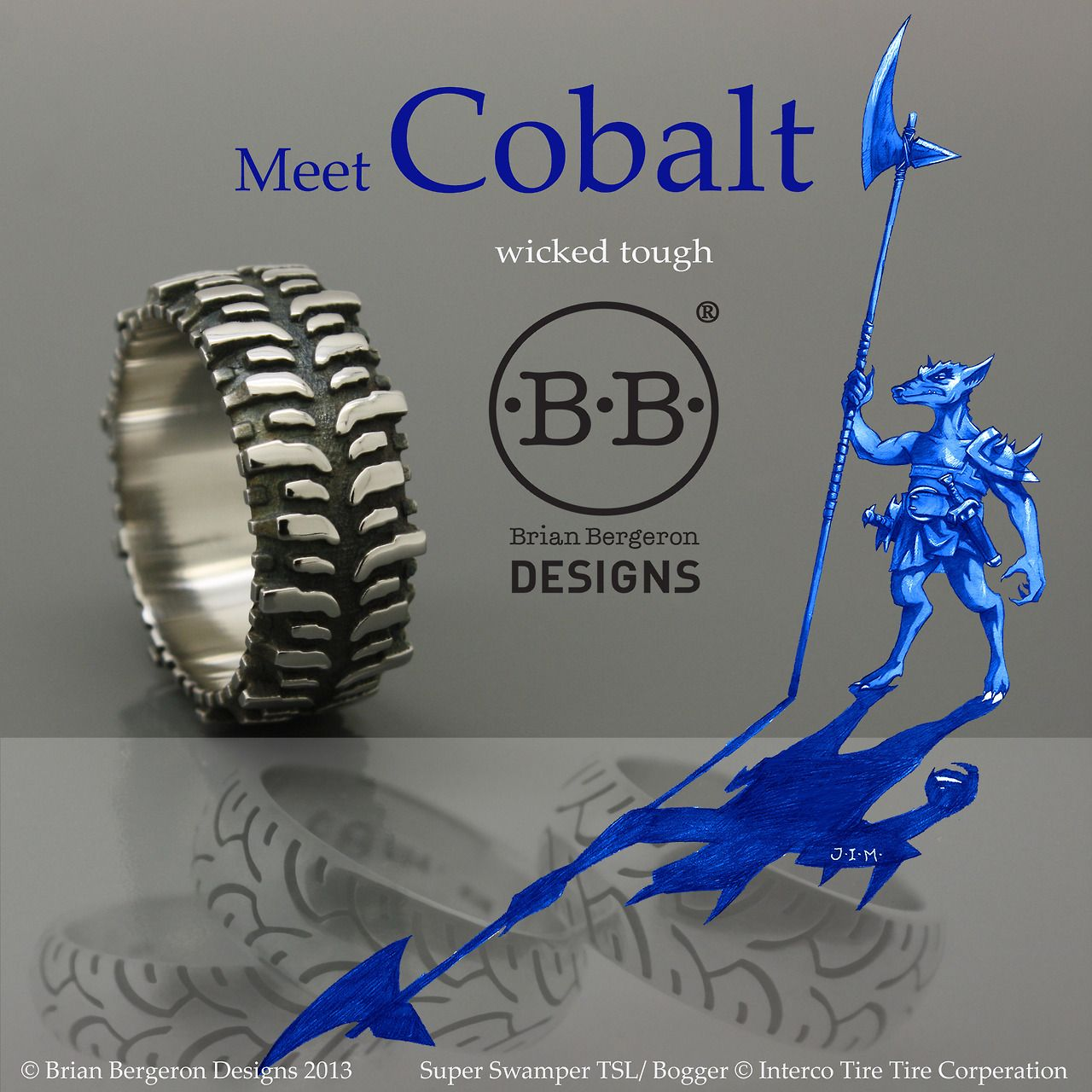 tire tread wedding band Brian Bergeron Designs Super Swamper TSL Bogger Tire Ring in cobalt chrome