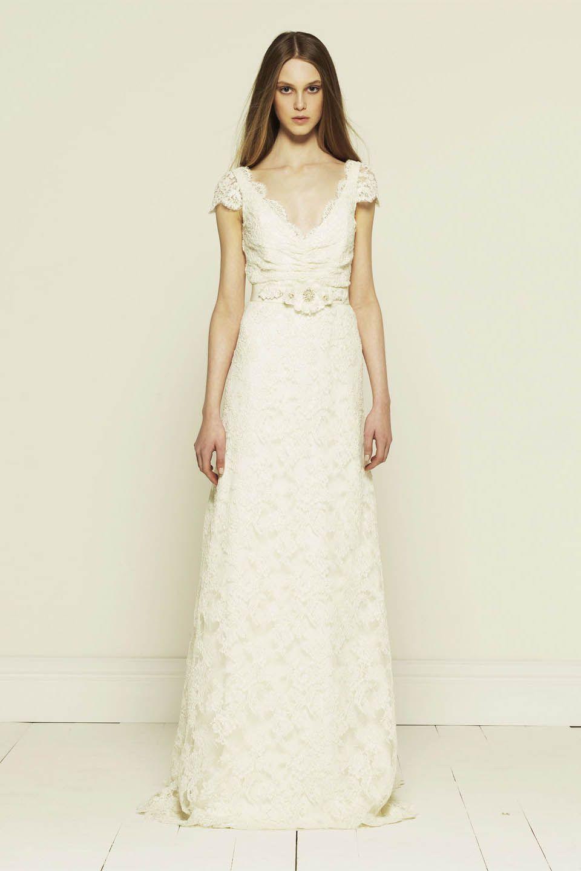short sleeve wedding dress Colette Dinnigan french corded lace short sleeve wedding dress with train