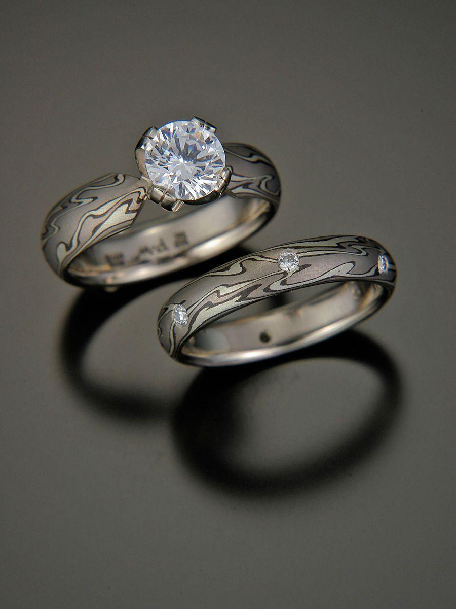 mokume gane wedding bands Michael Daniels mokume gane engagement ring and wedding band set