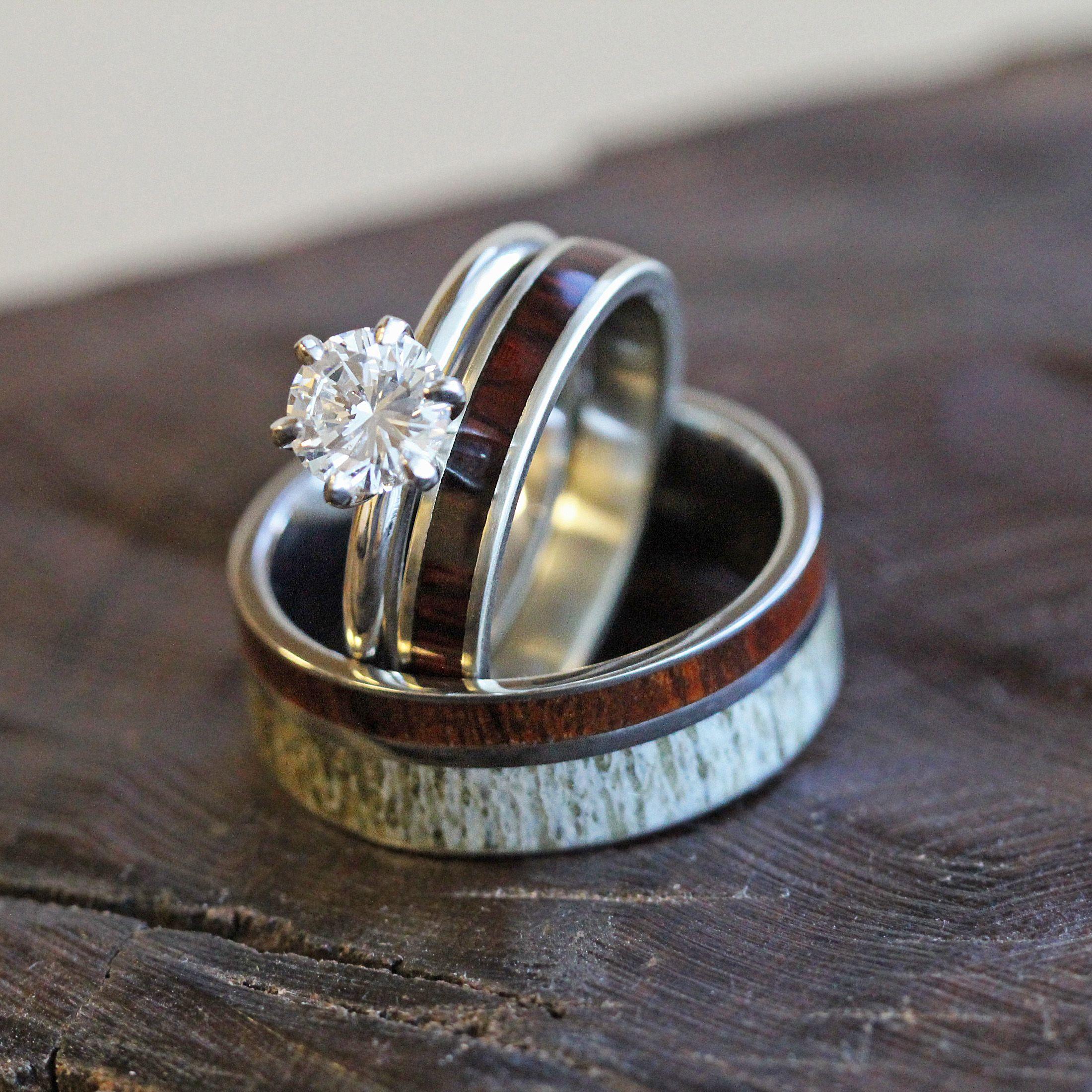 deer wedding bands Deer Antler Wedding Ring Set Diamond And Wood Bridal Set