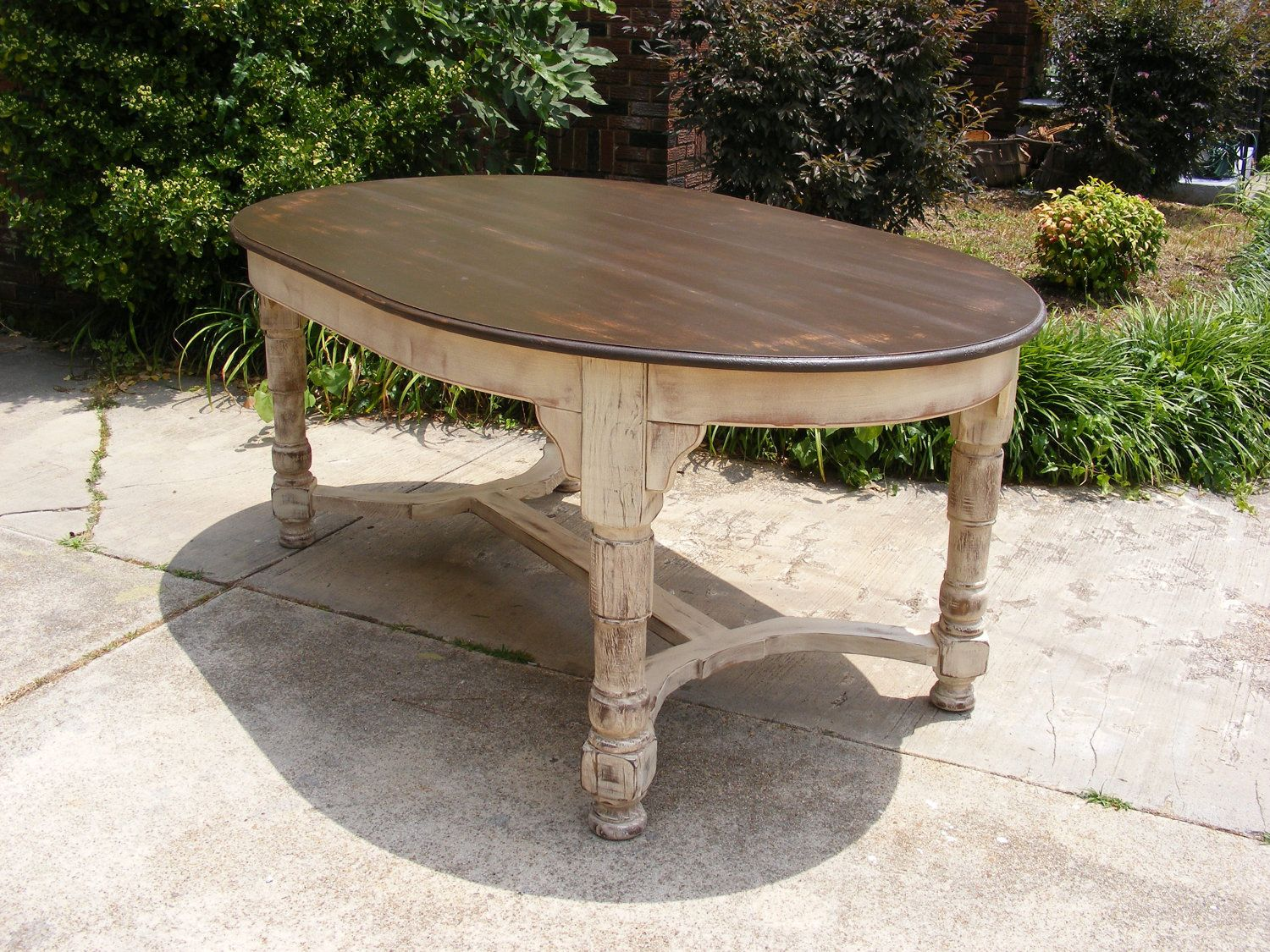 tables white distressed kitchen table Oval Dining Table Completely Handcrafted Distress Brown Top and Distressed Ivory Bottom