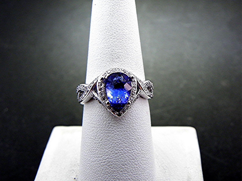 tanzanite wedding rings Carat AAA Dark Blue Natural Pear shape Tanzanite set in white gold diamond ring carats