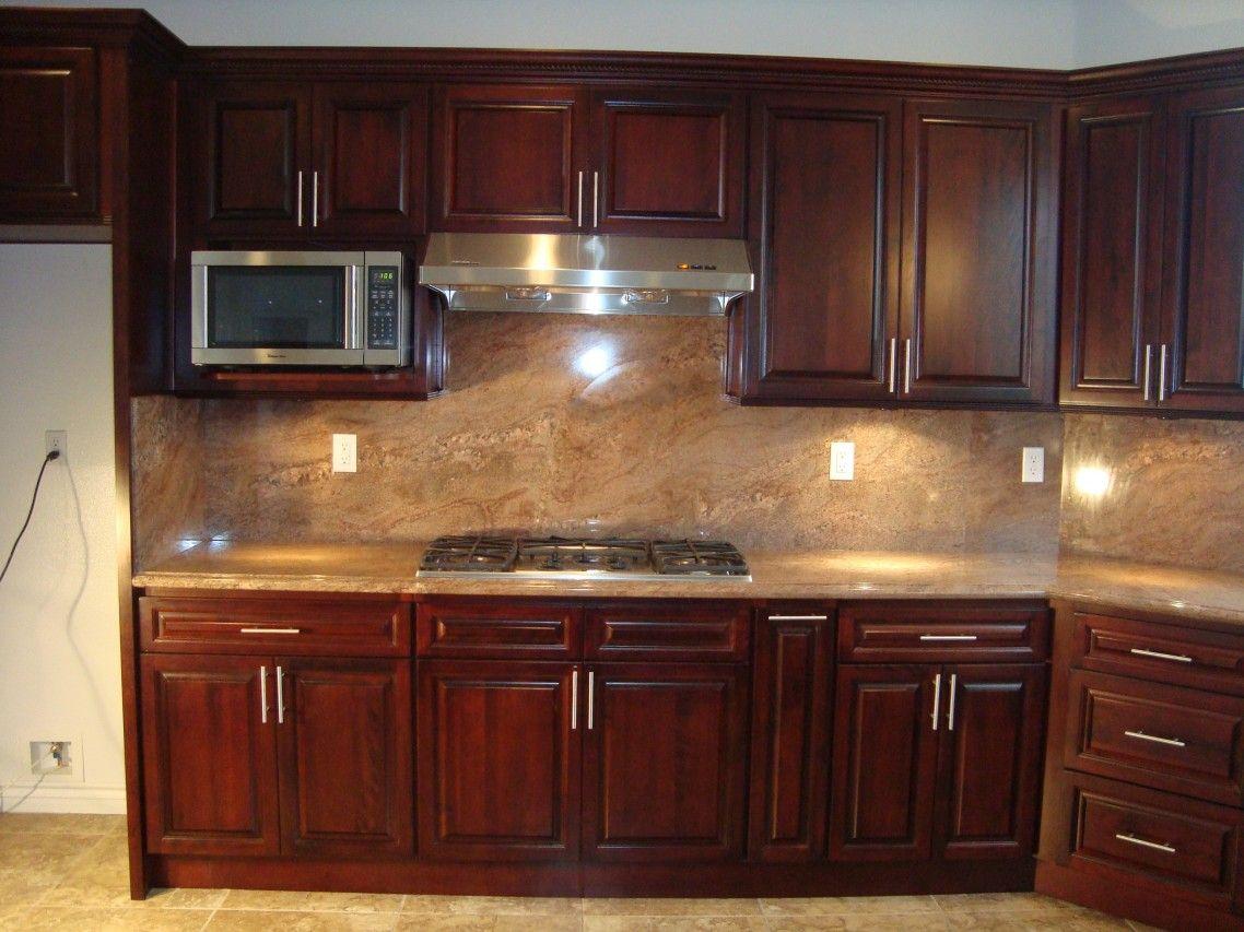 cherry wood cabinets kitchen Kitchen Backsplash Ideas With Dark Cabinets