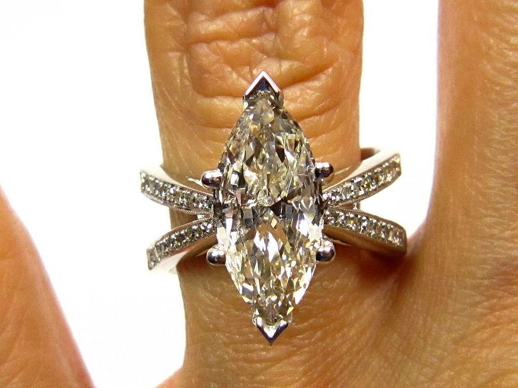 marquise engagement rings marquee wedding ring 3 01ct Estate MARQUISE Diamond Solitaire Engagement Pave Ring Anniversary Ring Wedding Band in