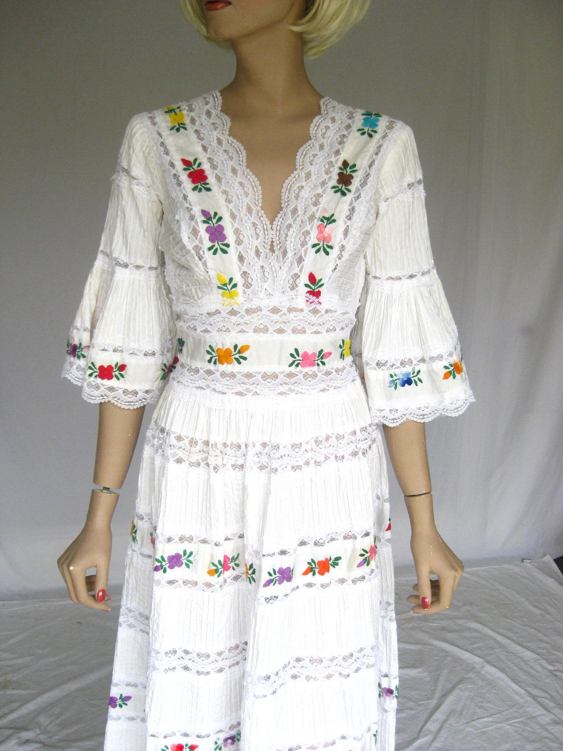 mexican wedding dress Vintage s Mexican Embroidered Lace Wedding Dress
