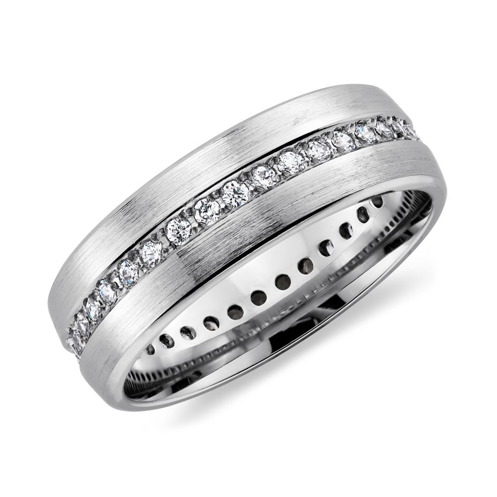 wedding bands men Brushed Diamond Eternity Men s Wedding Ring in Platinum