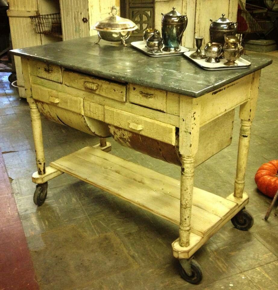 kitchen table bakers Zinc top on possum belly table as island