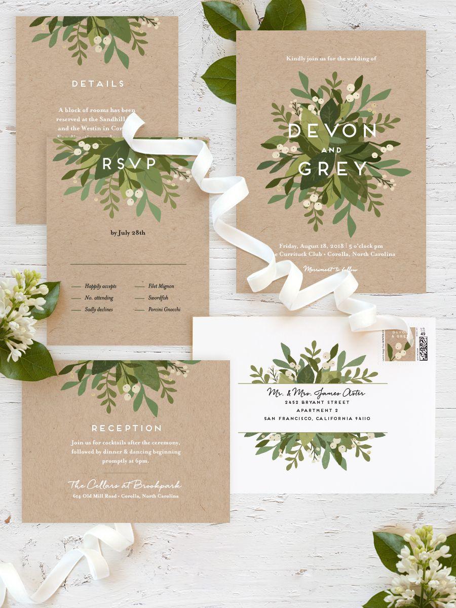 customizable wedding invitations Laurel of Greens Customizable Wedding Invitations in Black or Green by Jennifer Wick